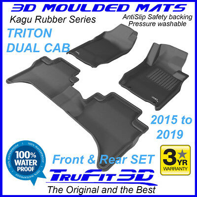 To suit Mitsubishi Triton MQ Twin Dual Cab 2015 - 2016 3D Black Rubber Car Mats
