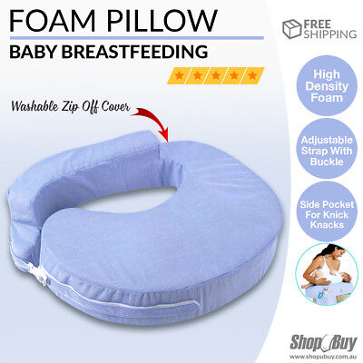 Baby Breast Feeding Support Memory Foam Breastfeeding Pillow Zip Cover Blue