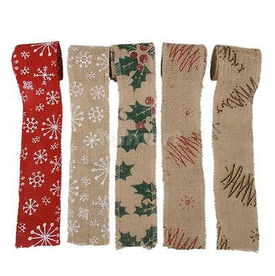 2M/3M Hessian Burlap Wired Ribbon Rustic Winter Wedding Christmas DIY Bow Craft