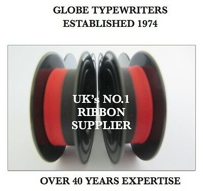 2 x 'HERMES ROCKET' *BLACK/RED* TOP QUALITY *10 METRE* TYPEWRITER RIBBONS