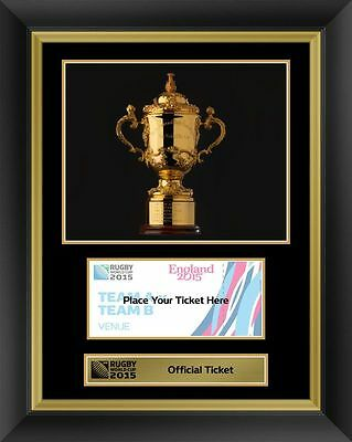 Rugby World Cup 2015 Official Ticket Display Photo Frame Webb Ellis Trophy RWC