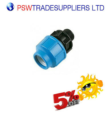 MDPE Plastic Compression Adaptor Fitting Male BSP for water pipe