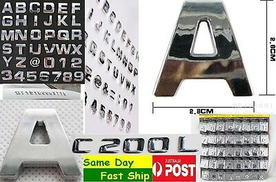 1x Chrome 3D Capital letter alphabet digital for car sticker badge decal logo AU