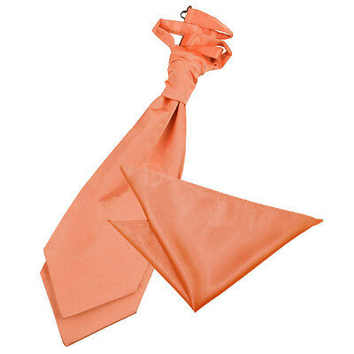 Coral Peach Satin Mens Scrunchie Wedding Cravat & Hanky