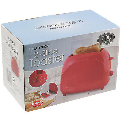 Lloytron 700w 2 Slice Kitchen Cool Wall Bread Toaster Reheat Cancel Function Red