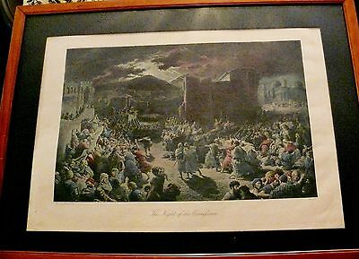 Antique Gustave Dore' Rare Hand Colored Steel Engraving Night of the Crucifixion