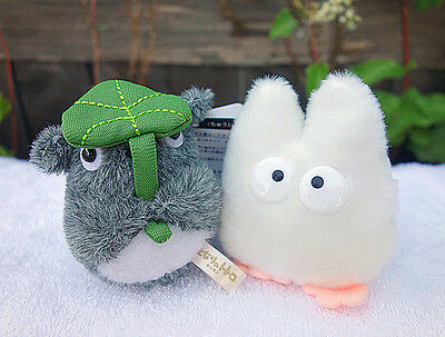 "Ghibli My Neighbor Totoro Plush Doll Key Chain 4"" Small White & 3.75"" Grey 2pcs"