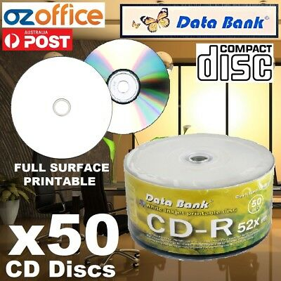 50 x Data Bank CD-R Blank CD R 700MB 52X Blank CDs Full Hub White Printable CDR