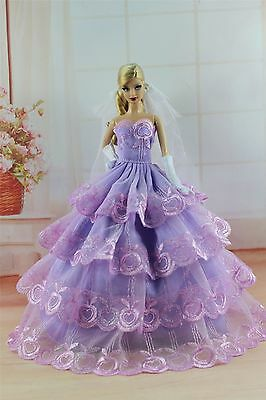 Purple Fashion Princess Dress/Clothes/Gown+Veil+Gloves For 11.5in.Doll S305