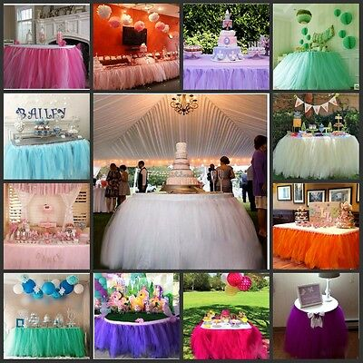 1*0.8M Tulle Tutu Tablecloth Table Skirt Wedding Party Xmas Baby Shower Decor