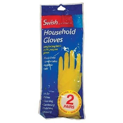 Swish LongLasting Latex Rubber Household Gloves Kitchen Cleaning Washing M L XL