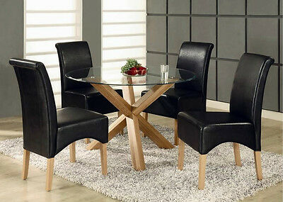 Oak Dining Table - Solid Oak Legs, Round Glass Top - 95-140cm: Same Day Dispatch