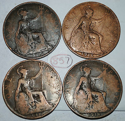 1915 1916 1917 1918  Great Britain 1 One Penny UK Lot #857