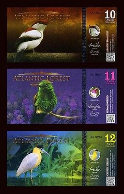 SET Atlantic Forest 10;11;12 Aves Dollars 2016 - 3 Note Bird Set