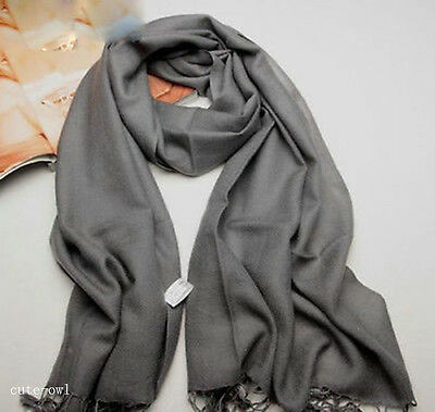 New Men's Winter Gray 100% Cashmere Pashmina Solid Neck Tassel Long Soft Scarf