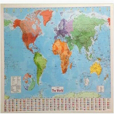 Fd3189 large map of the world wall chart political flags poster home fd3189 large map of the world wall chart political flags poster home art 98cm gumiabroncs Images