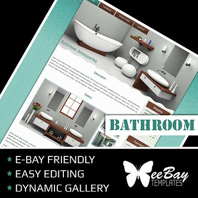 Professional eBay Auction Listing Template 49 BATHROOM Custom HTML New Design
