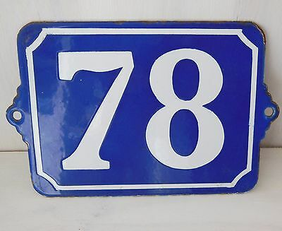 Large ANTIQUE FRENCH ENAMEL PORCELAIN DOOR HOUSE NUMBER PLAQUE SIGN Blue 78