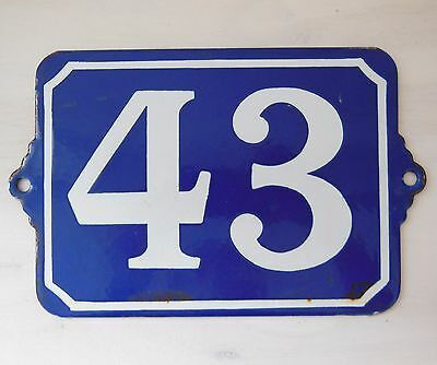 Large ANTIQUE FRENCH ENAMEL PORCELAIN DOOR HOUSE NUMBER PLAQUE SIGN Blue 43