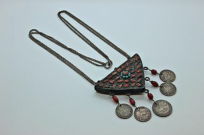 Antique Original Coral Silver And Iron Mix Amazing Ottoman Necklase
