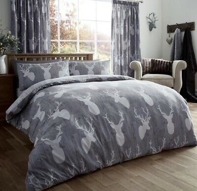 Vintage Stag Head Duvet Quilt Cover Deer Antlers Bedding Bed Set Silver Grey New