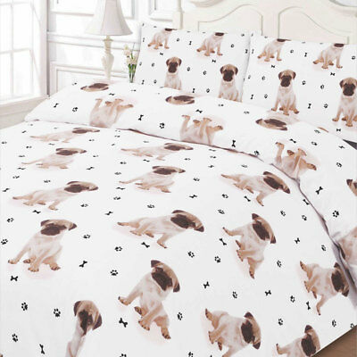 Pug Dog Animal Print Duvet Cover Pillow Case - White Bedding Set Superking Size
