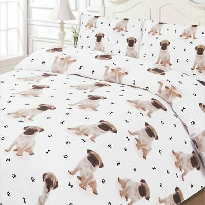 Pug Duvet Cover With Pillow Case Bedding Set Double Size Cute Puppy Dog - White