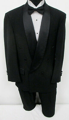 Black Oscar de la Renta Double Breasted Satin Shawl Tuxedo Jacket Wedding Prom
