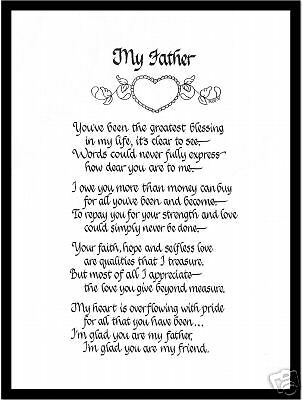 Dad Matted Calligraphy Poem From Daddys Little Girl Eur 871