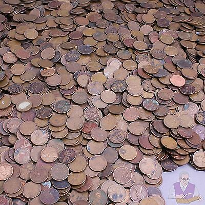 1940-1958 Wheat Cent Lot of 500 Coins Rough Condition Cheap