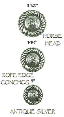 """Concho Lot Of 6 Antique Silver Rope Edge Horse Head Leather Craft 1""""- 1 1/2"""" New"""