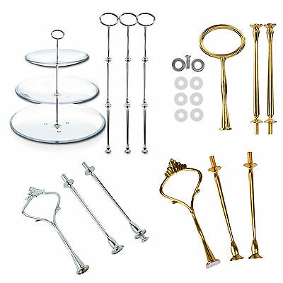 Durable 2 or 3 Tier Wedding Party Cake Plates Stand Centre Handle Fitting New