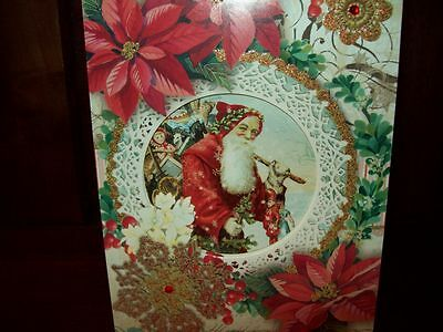 new boxed punch studio embellished holiday christmas cards 12 ct victorian santa