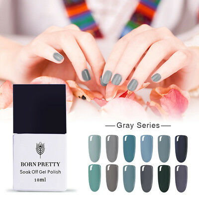 10ml Born Pretty Soak Off LED UV Gel Nail Polish Base/Top Coat  -Gray Series