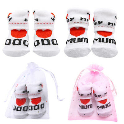 Cute Newborn Baby Kids Toddler Infant Boys Girls Cotton Mom/Dad Socks 0~6 Months