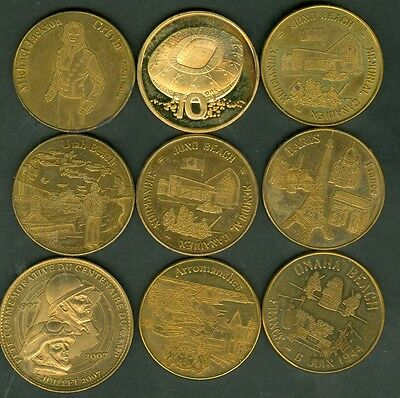 Lot De 9 Medailles Touristiques  Sites +Regiment Vadahon+Michaael Jackson Lot 9