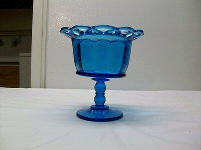 Vintage Imperial Glass Laced Edge Blue Glass Pedastal Candy Dish