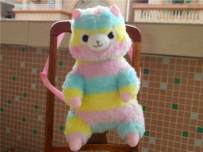 17'' Alpacasso Arpakasso Amuse Backpack Rainbow Stripe Llama Alpaca Plush Bag