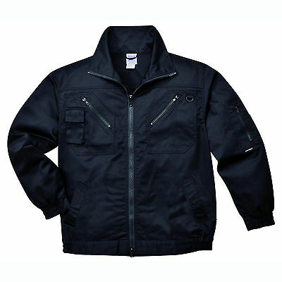 Mens Action Jacket Work Coat Black & Navy Multi Pockets Hardwearing Casual S862