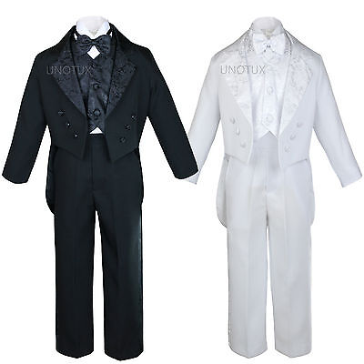 Black White Baby Kid Teen Boy Formal Wedding Party Paisley Tail Tuxedo Suit S-20