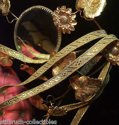 "Antique Vintage Gold Metallic Tape Lace Ribbon Embroidery Trim 3/8"" Christmas pY"