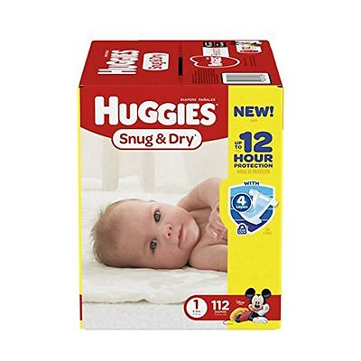 Huggies Snug and Dry Diapers Size 1 Baby Newborn 112 Count Free Shipping NEW