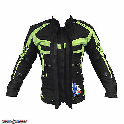 Motorcycle Motorbike Air Vented Summer Waterproof Textile Armour Hi Viz Jacket