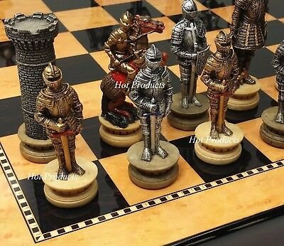 Medieval Times Crusades Warrior Knight Chess Set Walnut & Maple Finish Board 15""
