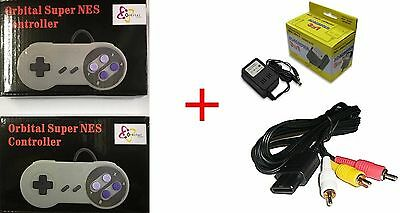 Ac Adapter Power Cord + Av Video Cable + 2 Controller For Super Nintendo Snes