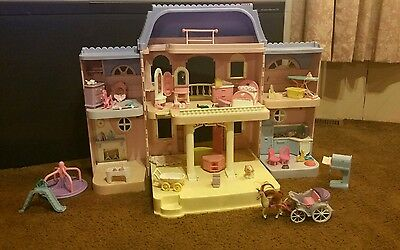 1997 fisher price loving family grand doll house blue roof. Black Bedroom Furniture Sets. Home Design Ideas