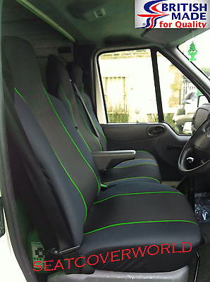 Renault Master - Black/green Trim Van Seat Covers - Single + Double