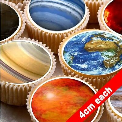 24 Cake topper decorations icing wafer Solar System planets space moon