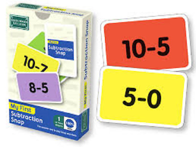 BrainBox My First Subtraction Snap Pairs Card Game Maths Minus Numbers Year 1
