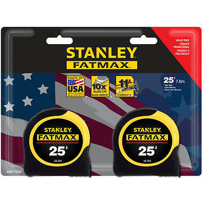 Stanley FATMAX 2 Pack 25' Locking SAE Tape Measures w Blade Armor USA Made *NEW*